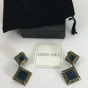 Heidi Daus Blue Rhinestone Bronze Clip On Earrings
